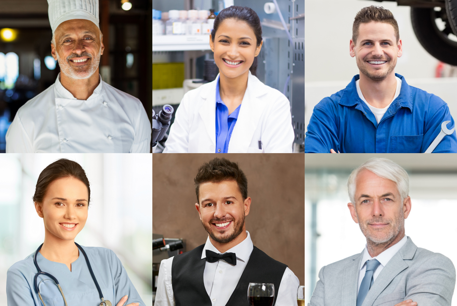 A collage of people showcasing various professional uniforms